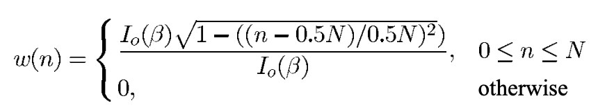 Equation for Kaiser window